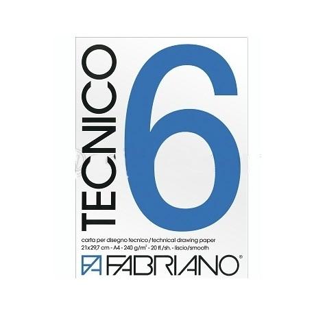 TECNICO 6 - BLOCCO COLLATO AD 1 LATO - RUVIDO - 220g. - 20 fogli