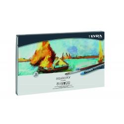 Lyra Aquacolor.pastelli acquarellabili scatola di metallo di 48 colori assortiti