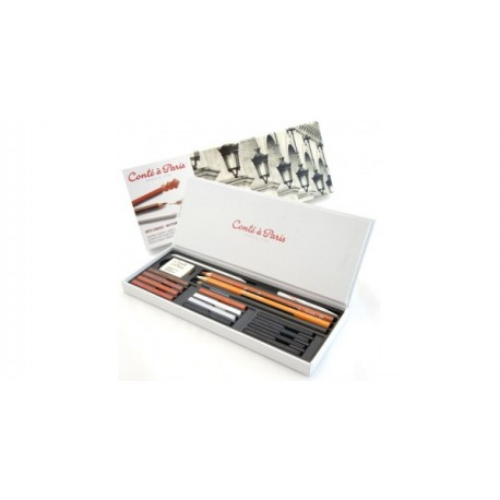 Conté à Paris - Scatola di strumenti per schizzi con 12 pastelli di colori assortiti, 3 matite di colori assortiti e accessori