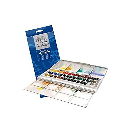 THE HALF PAN STUDIO SET - 45 WATER COLOUR HALF PANS COTMAN COLORI FINI