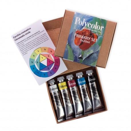 PRIMARY SET POLYCOLOR - 5 X 20 ml. - colori vinilici fini