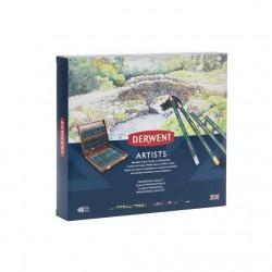 Derwent Artist 48 Matite Colorate Cofanetto 2 Cassetti in Legno Massello