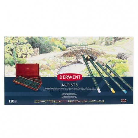 Derwent Artist 120 Matite Colorate Cassetta in Legno Massello 3 ripiani