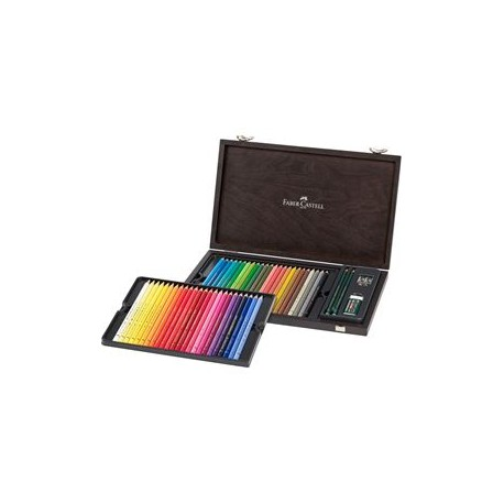 Valigetta in legno con 48 matite Colorate Polychromos